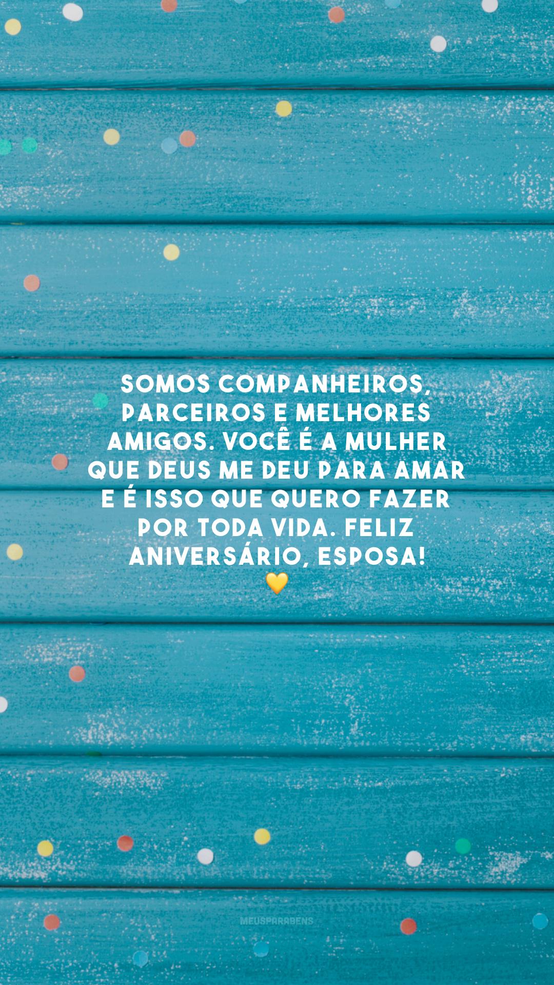 Somos companheiros, parceiros e melhores amigos. Você é a mulher que Deus me deu para amar e é isso que quero fazer por toda vida. Feliz aniversário, esposa! 💛