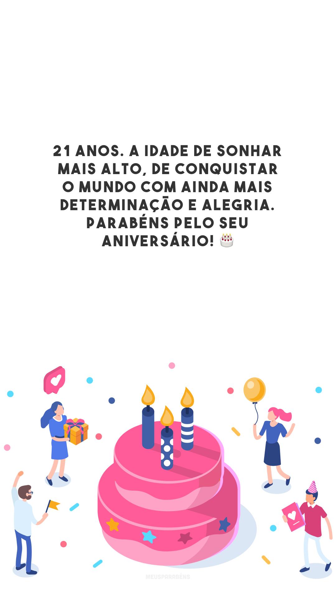 21 anos. A idade de sonhar mais alto, de conquistar o mundo com ainda mais determinação e alegria. Parabéns pelo seu aniversário! 🎂