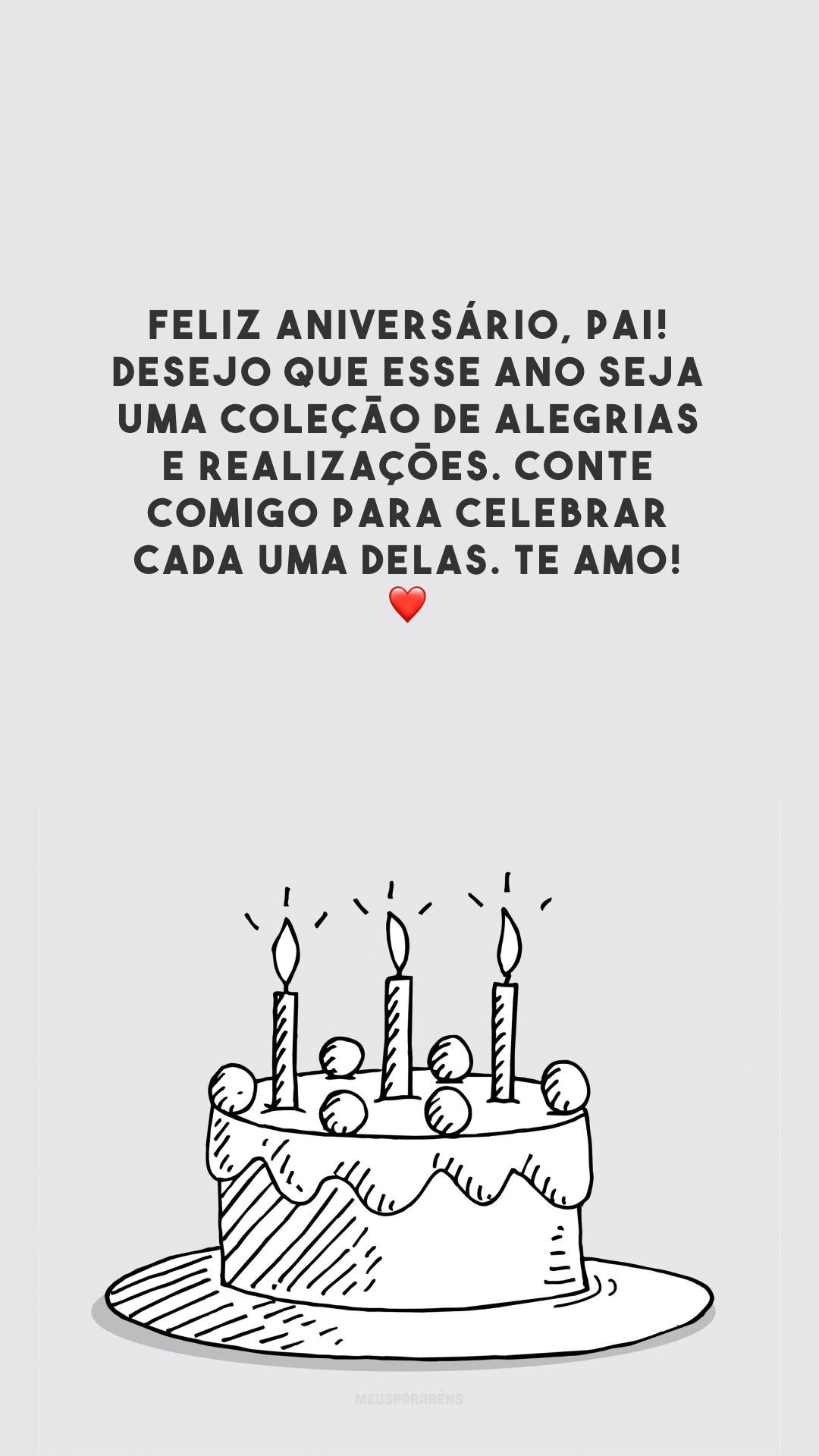 Feliz aniversário, pai! Desejo que esse ano seja uma coleção de alegrias e realizações. Conte comigo para celebrar cada uma delas. Te amo! ❤️