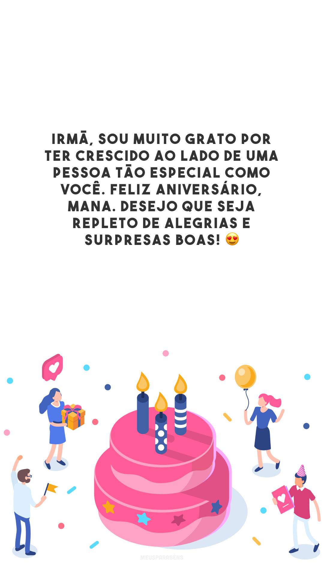 Irmã, sou muito grato por ter crescido ao lado de uma pessoa tão especial como você. Feliz aniversário, mana. Desejo que seja repleto de alegrias e surpresas boas! 😍