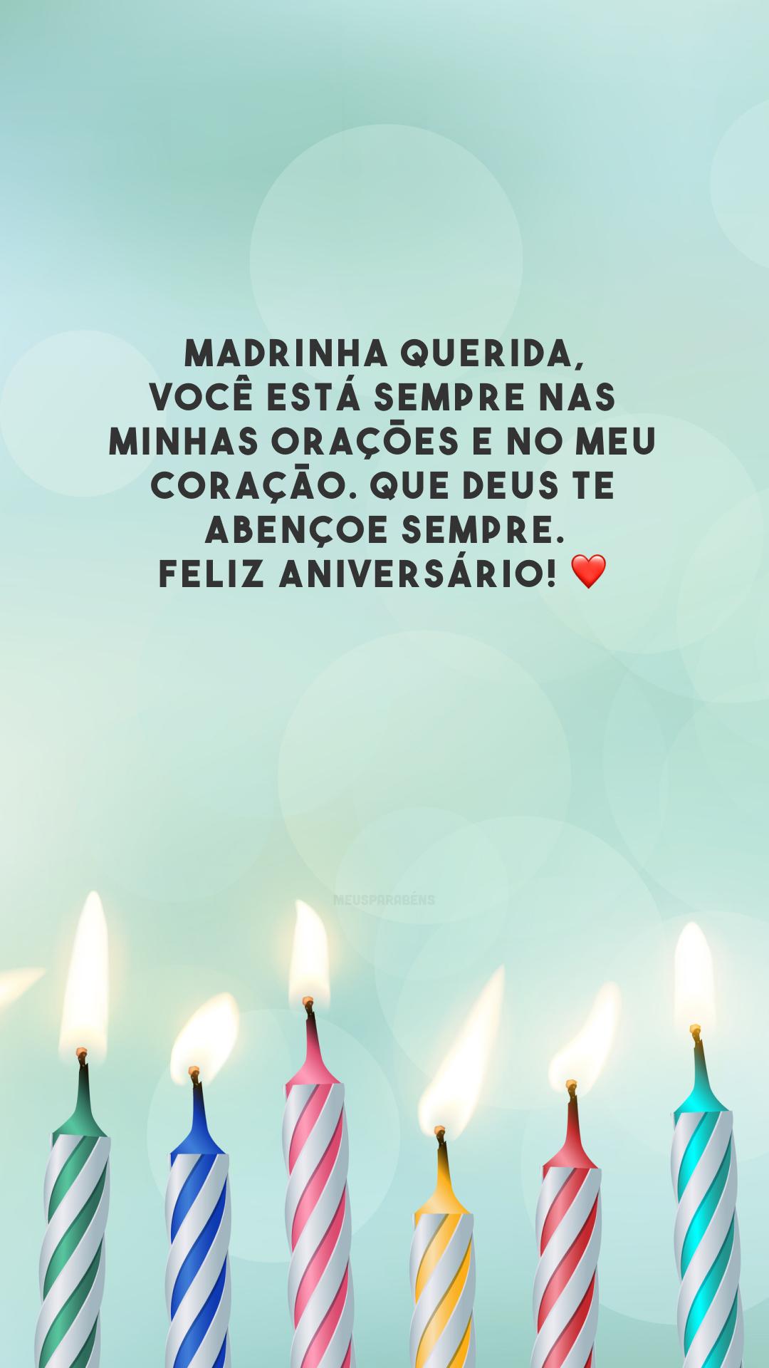 Madrinha querida, você está sempre nas minhas orações e no meu coração. Que Deus te abençoe sempre. Feliz aniversário! ❤️