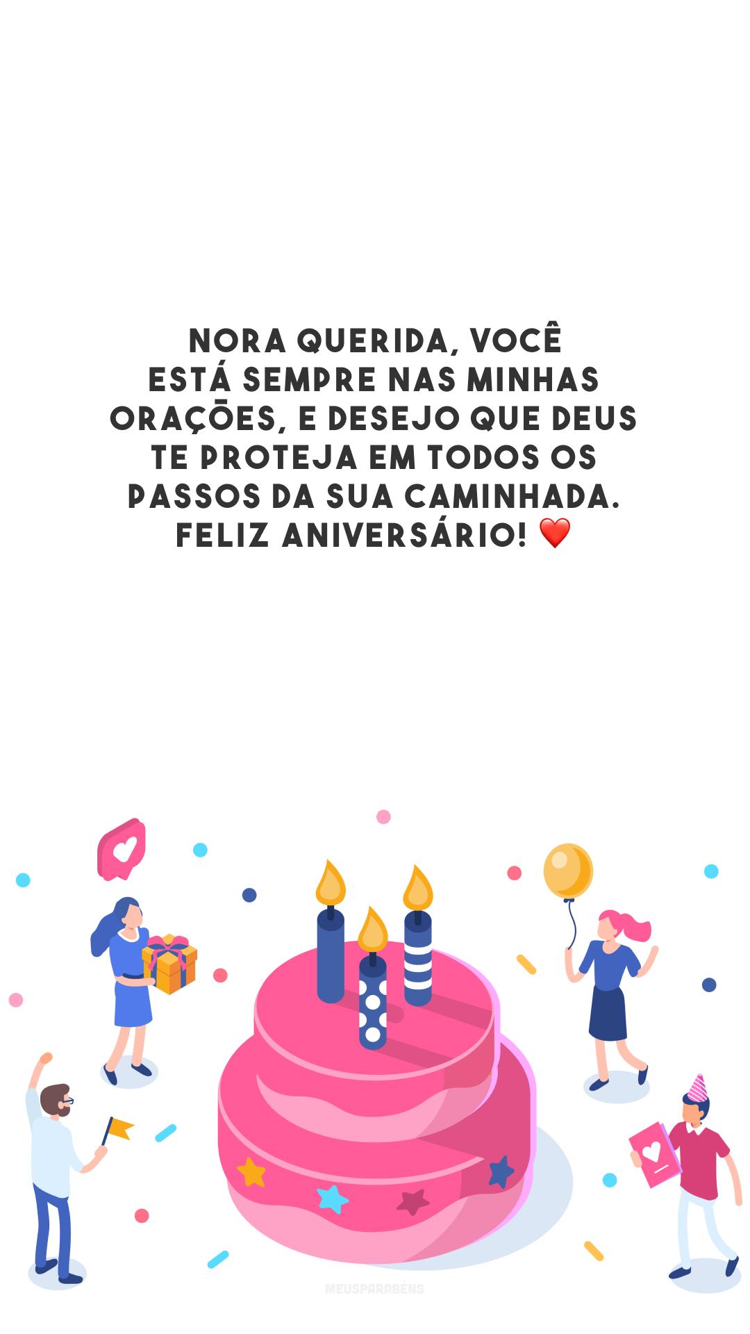 Nora querida, você está sempre nas minhas orações, e desejo que Deus te proteja em todos os passos da sua caminhada. Feliz aniversário! ❤️