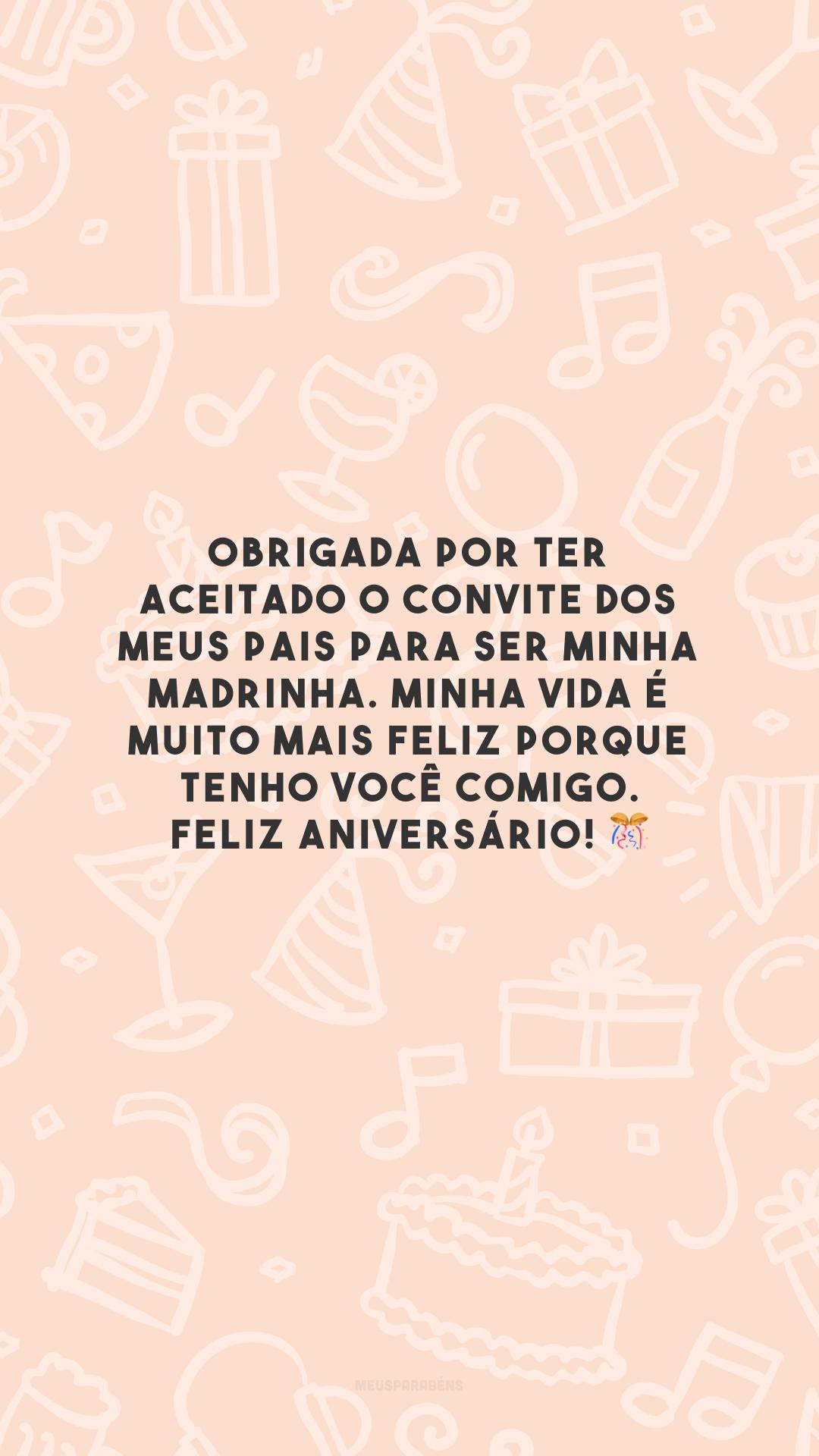 Obrigada por ter aceitado o convite dos meus pais para ser minha madrinha. Minha vida é muito mais feliz porque tenho você comigo. Feliz aniversário! 🎊