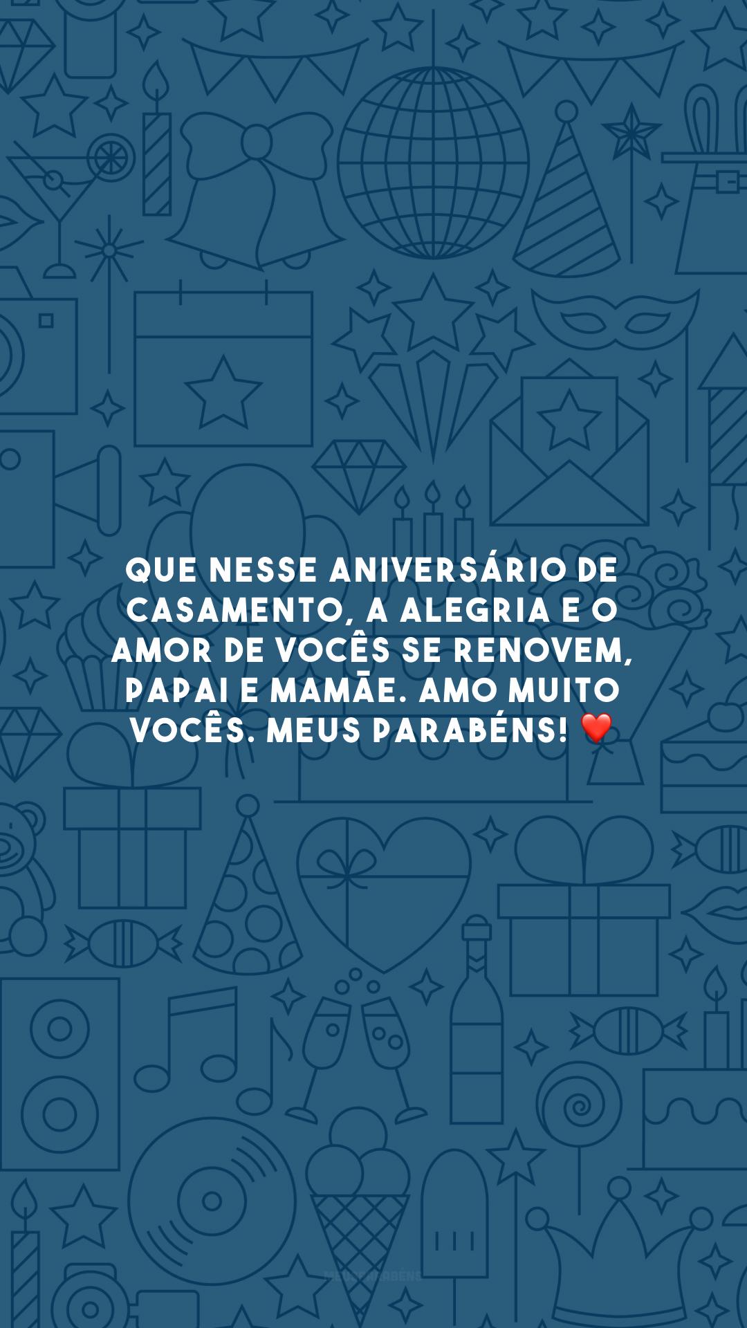 Que nesse aniversário de casamento, a alegria e o amor de vocês se renovem, papai e mamãe. Amo muito vocês. Meus parabéns! ❤️