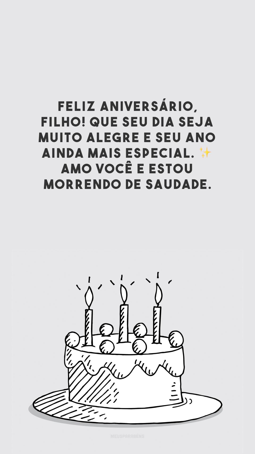 Feliz aniversário, filho! Que seu dia seja muito alegre e seu ano ainda mais especial. ✨ Amo você e estou morrendo de saudade.