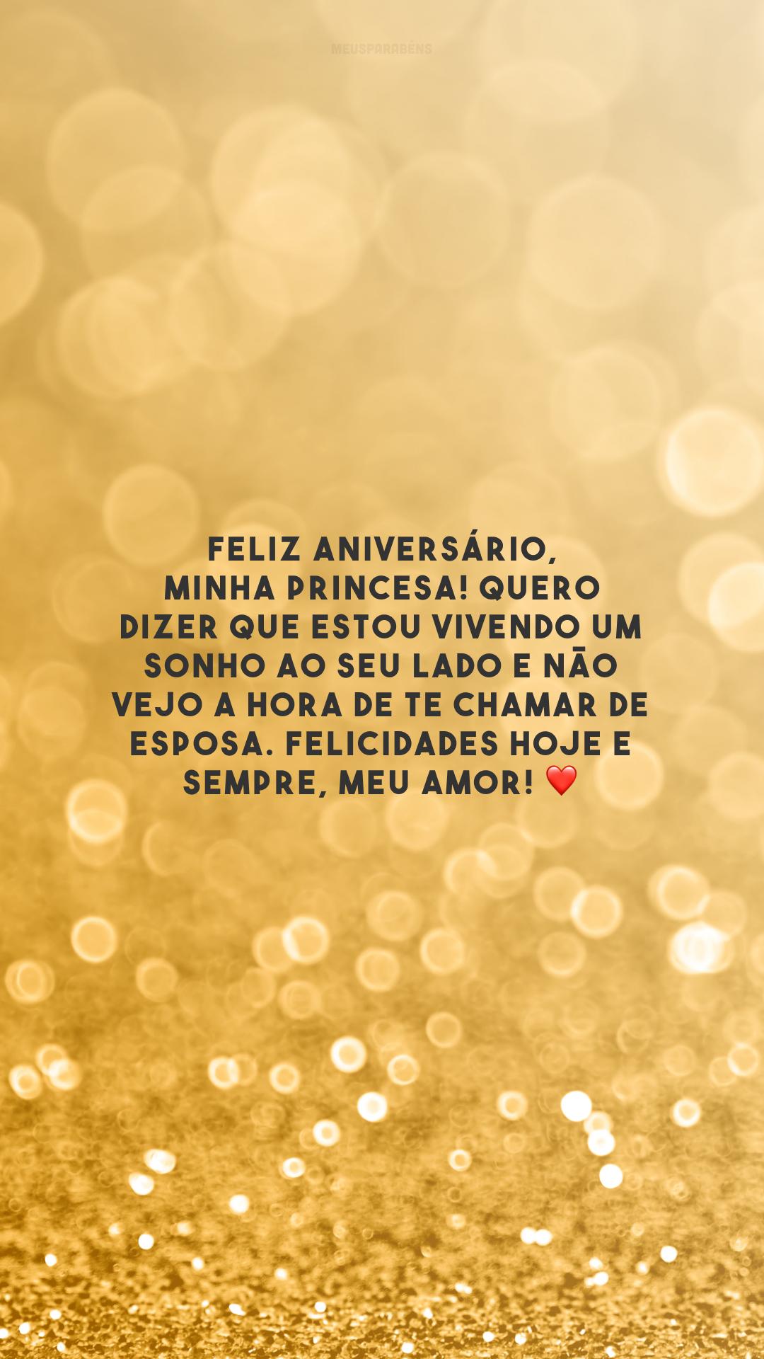Feliz aniversário, minha princesa! Quero dizer que estou vivendo um sonho ao seu lado e não vejo a hora de te chamar de esposa. Felicidades hoje e sempre, meu amor! ❤️