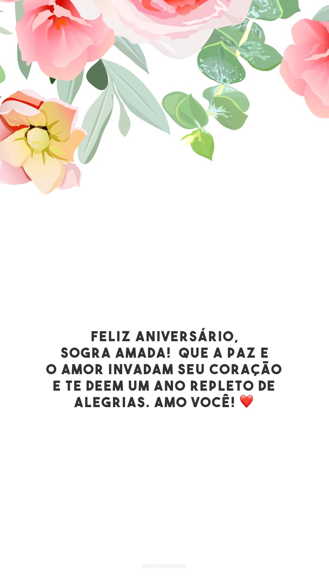 Feliz aniversário, sogra amada!  Que a paz e o amor invadam seu coração e te deem um ano repleto de alegrias. Amo você! ❤️