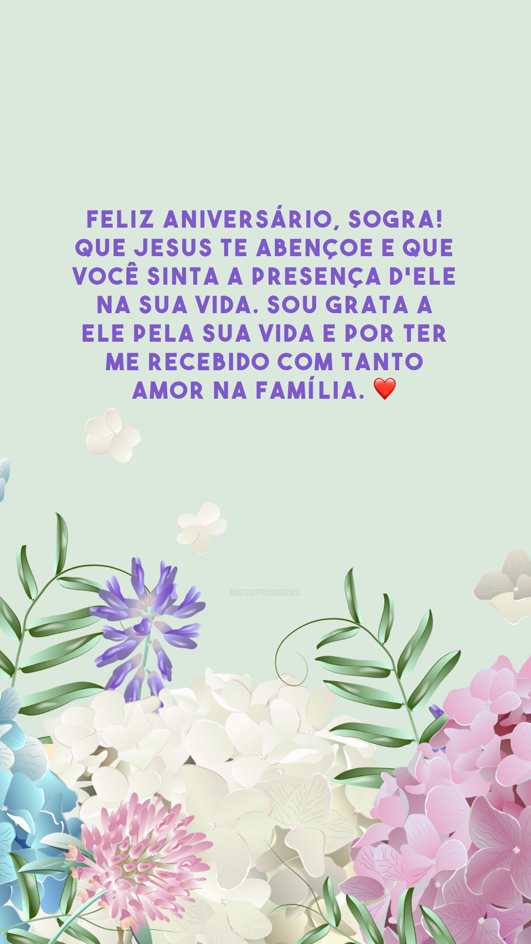 Feliz aniversário, sogra! Que Jesus te abençoe e que você sinta a presença d'Ele na sua vida. Sou grata a Ele pela sua vida e por ter me recebido com tanto amor na família. ❤️