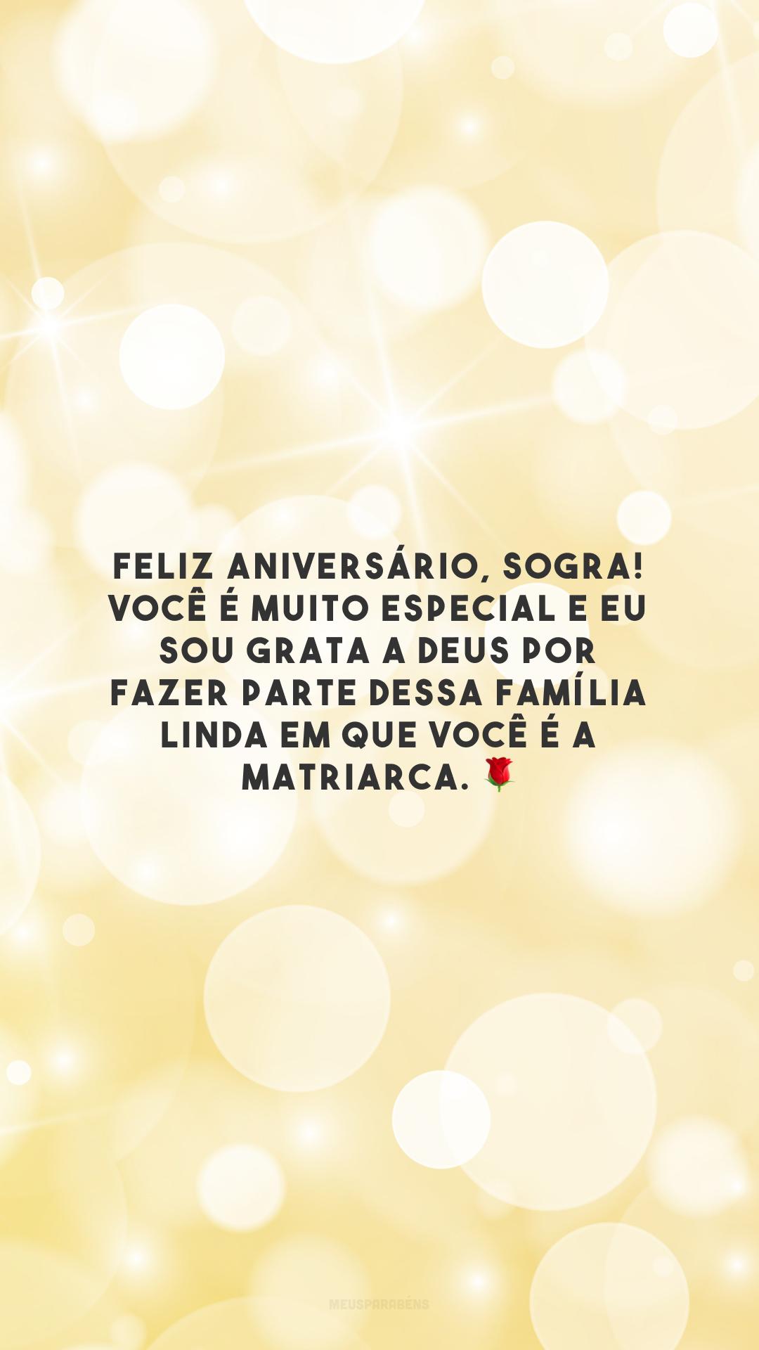 Feliz aniversário, sogra! Você é muito especial e eu sou grata a Deus por fazer parte dessa família linda em que você é a matriarca. 🌹