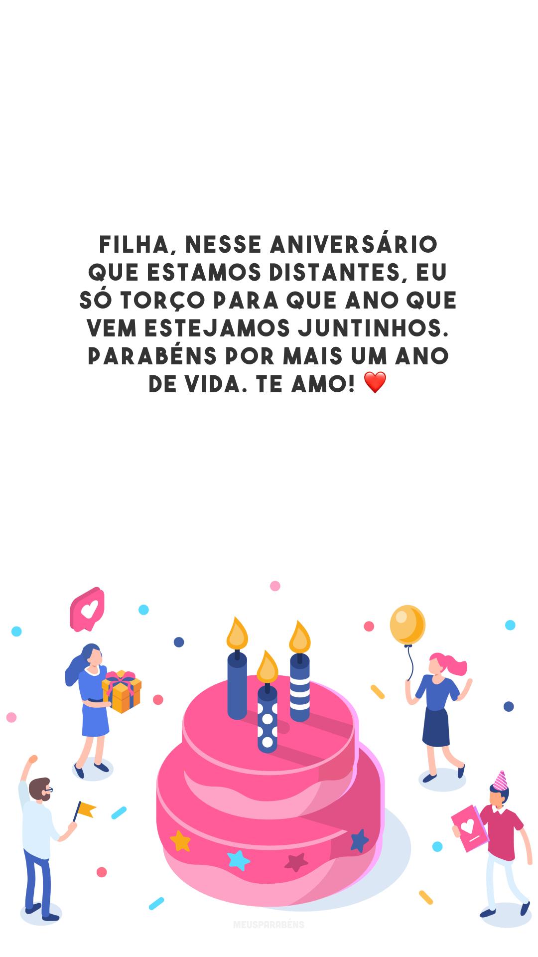 Filha, nesse aniversário que estamos distantes, eu só torço para que ano que vem estejamos juntinhos. Parabéns por mais um ano de vida. Te amo! ❤️