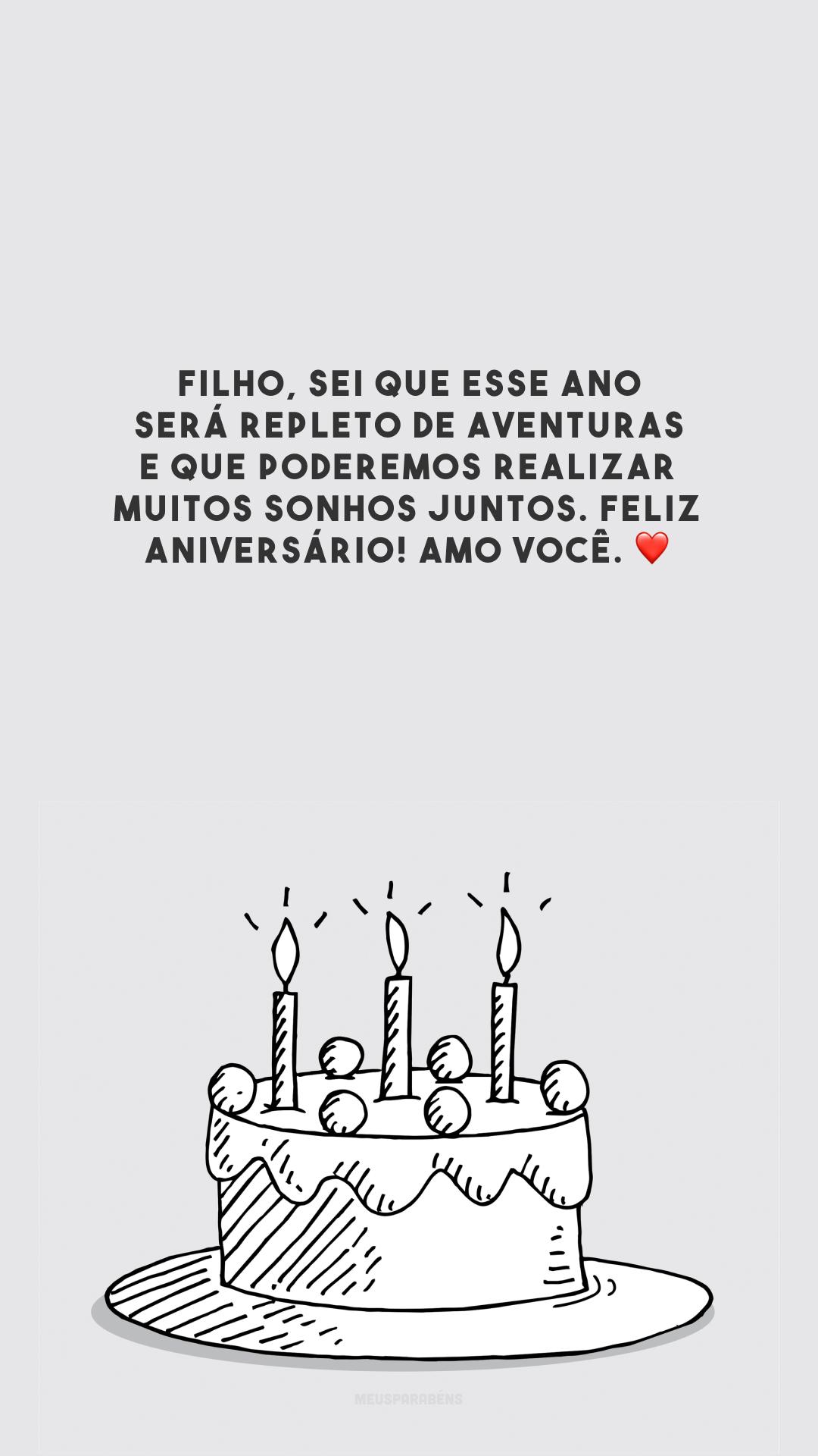 Filho, sei que esse ano será repleto de aventuras e que poderemos realizar muitos sonhos juntos. Feliz aniversário! Amo você. ❤️