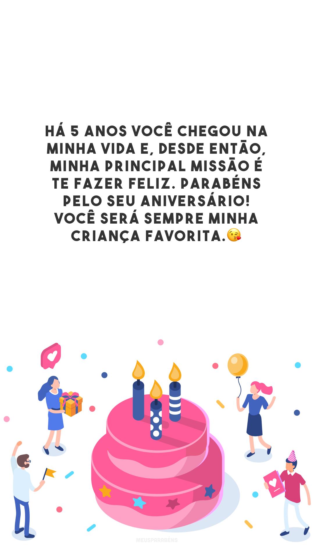 Há 5 anos você chegou na minha vida e, desde então, minha principal missão é te fazer feliz. Parabéns pelo seu aniversário! Você será sempre minha criança favorita.😘