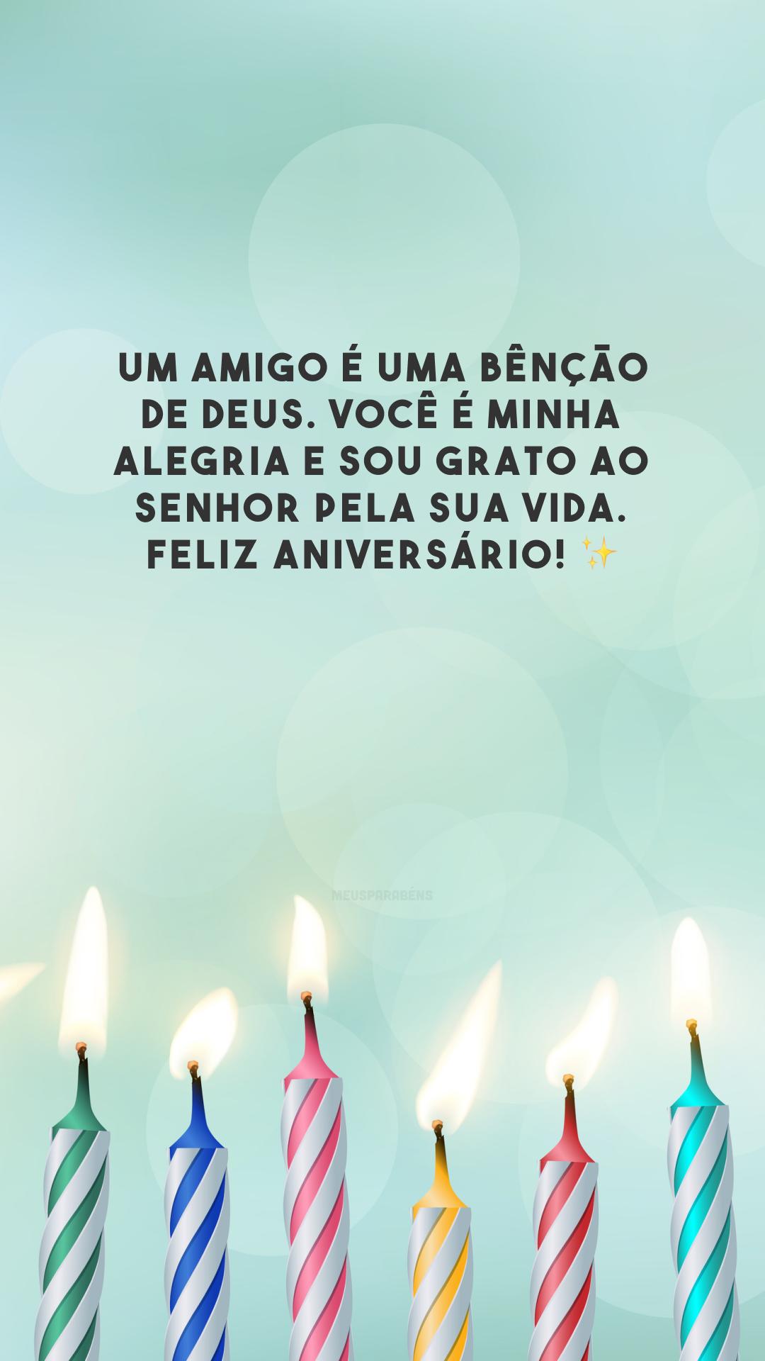 Um amigo é uma bênção de Deus. Você é minha alegria e sou grato ao Senhor pela sua vida. Feliz aniversário! ✨