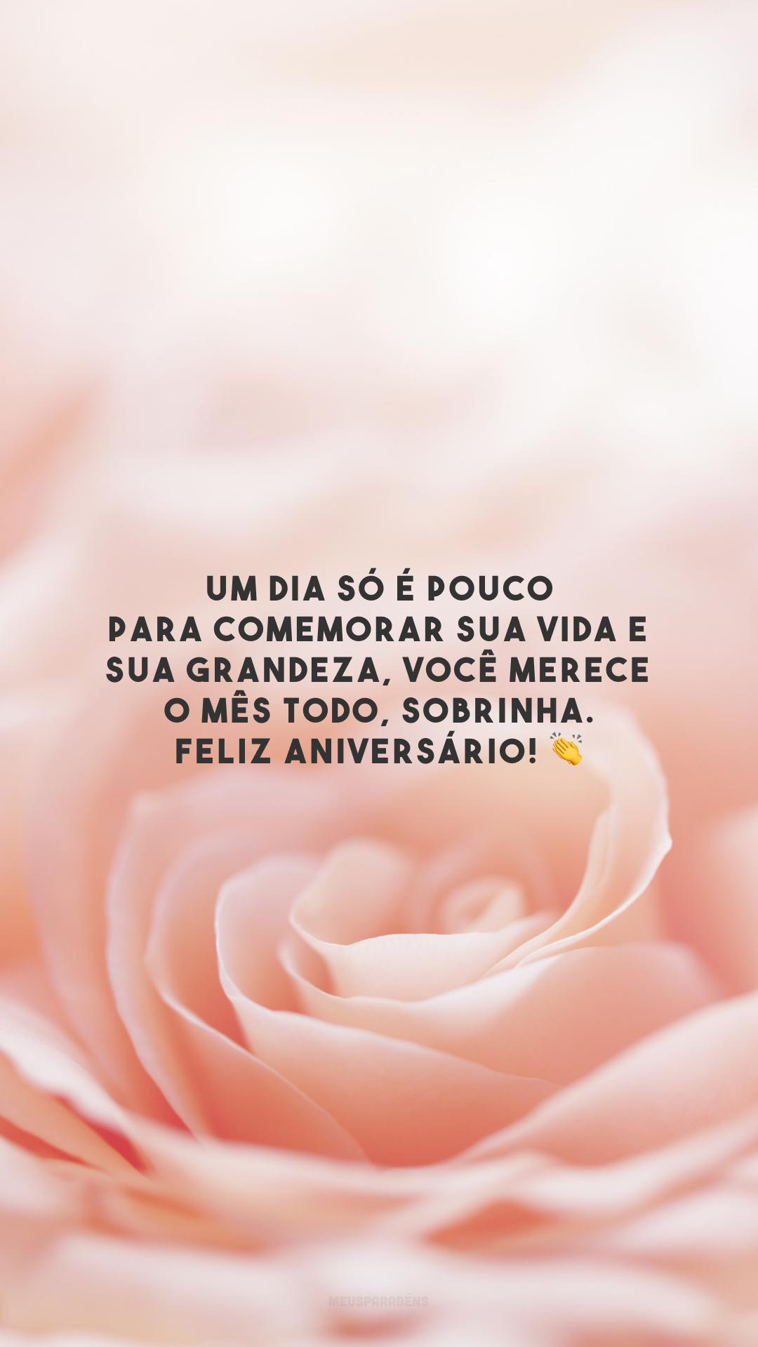 Um dia só é pouco para comemorar sua vida e sua grandeza, você merece o mês todo, sobrinha. Feliz aniversário! 👏