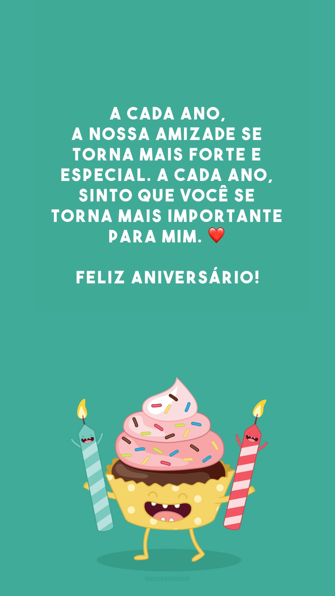 A cada ano, a nossa amizade se torna mais forte e especial. A cada ano, sinto que você se torna mais importante para mim. ❤️ Feliz aniversário!