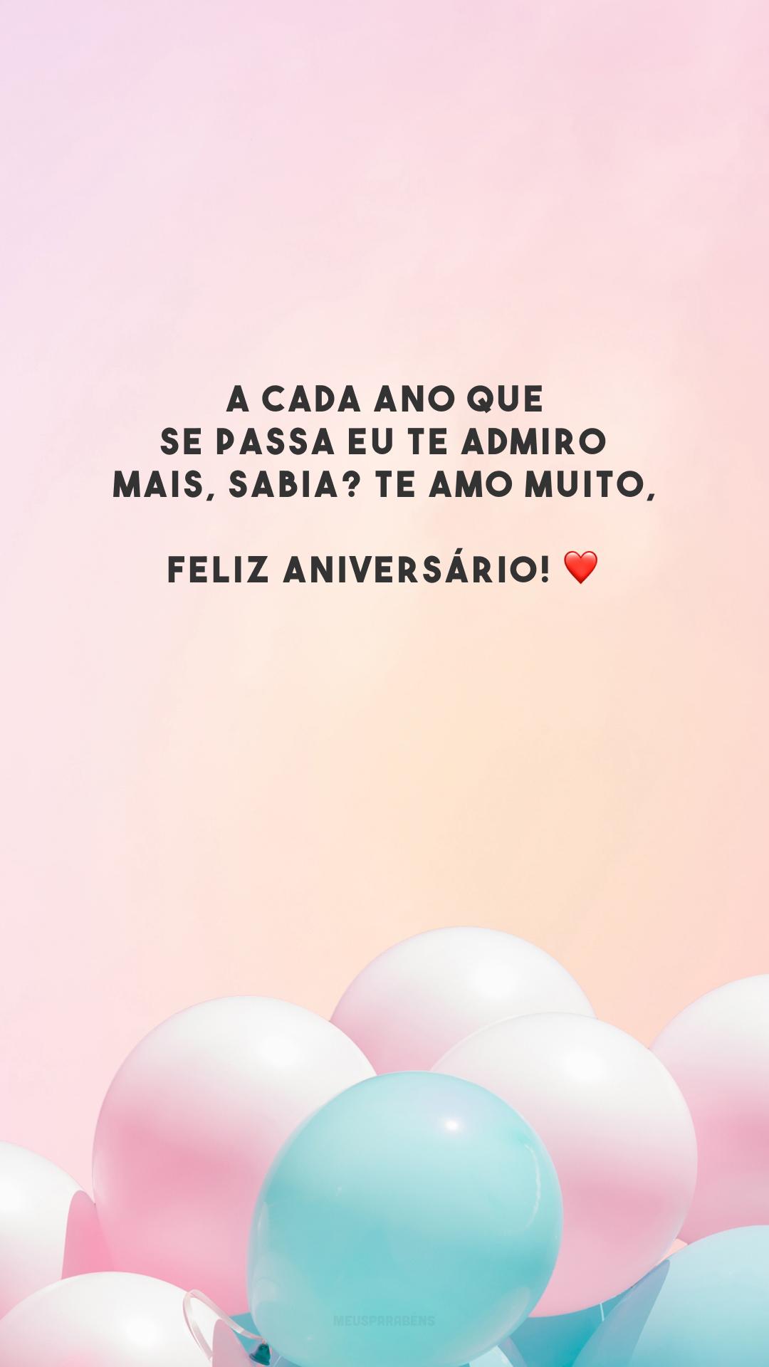 A cada ano que se passa eu te admiro mais, sabia? Te amo muito, feliz aniversário! ❤️