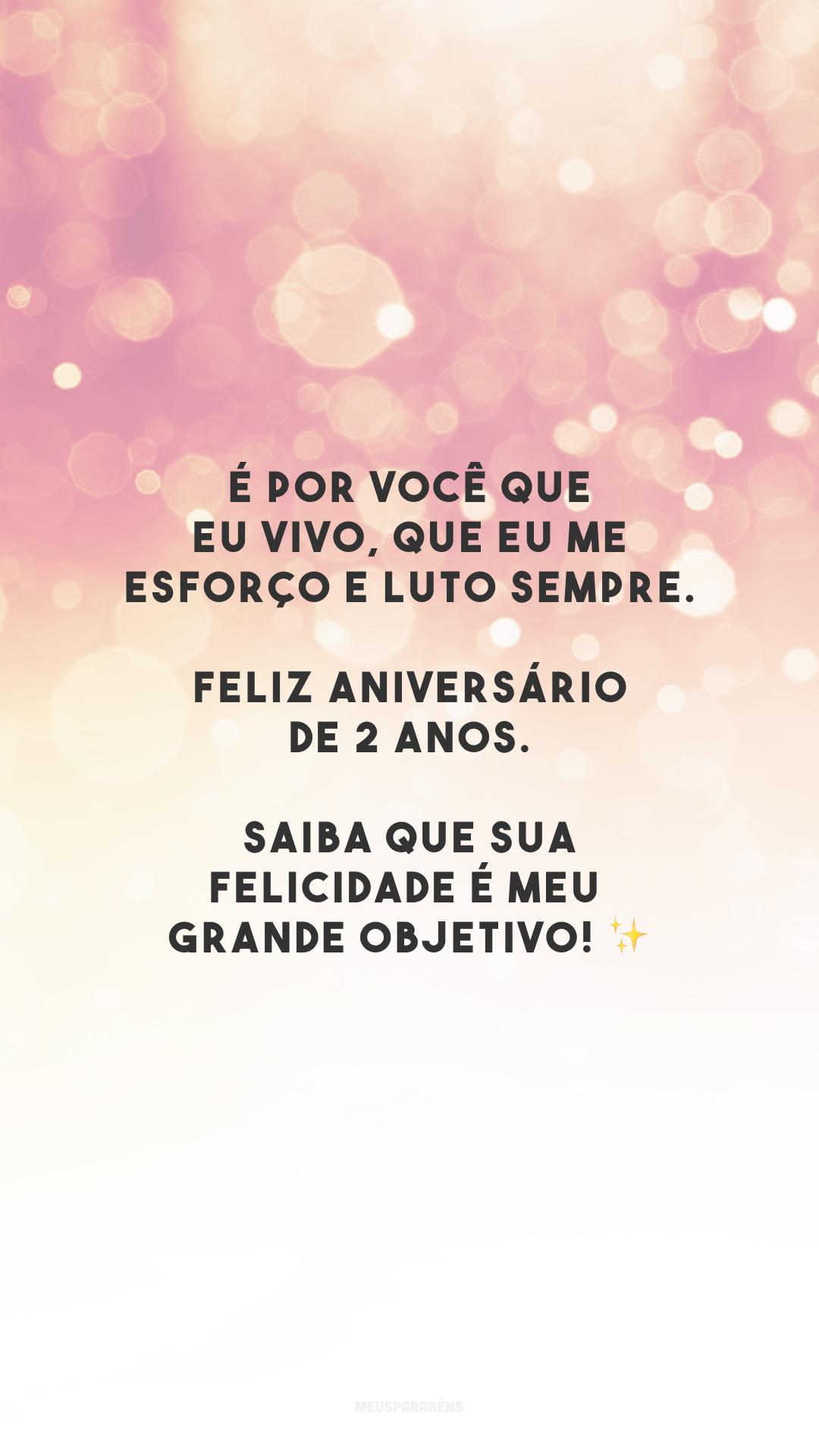 É por você que eu vivo, que eu me esforço e luto sempre. Feliz aniversário de 2 anos. Saiba que sua felicidade é meu grande objetivo! ✨