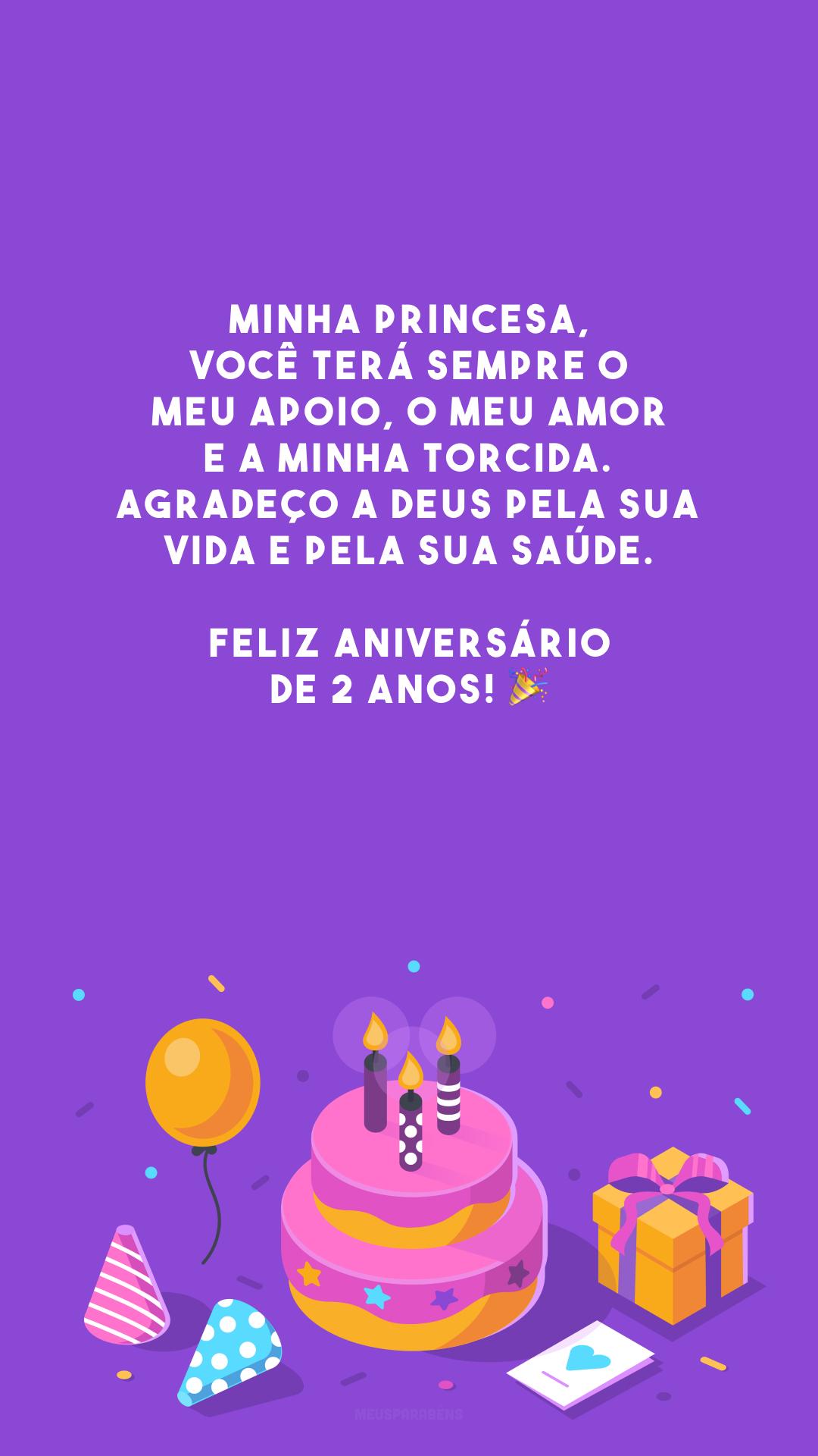 Minha princesa, você terá sempre o meu apoio, o meu amor e a minha torcida. Agradeço a Deus pela sua vida e pela sua saúde. Feliz aniversário de 2 anos! 🎉